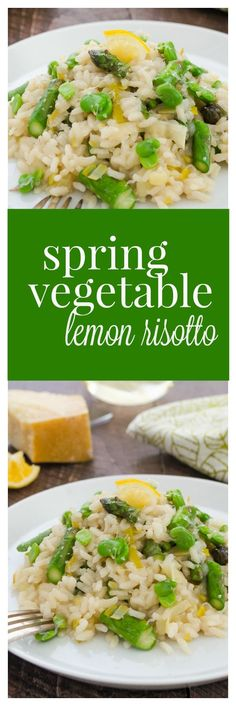 Spring Vegetable Lemon Risotto is creamy risotto packed with spring veggies, fresh lemon flavor, and grated parmesan. It's an easy meatless meal!