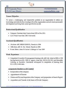 Resume formats for company secretary