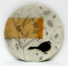 Diana Fayt. I'm attracted to the combination of delicate plant drawing, solid bird, and the sort of mysterious golden rectangle.