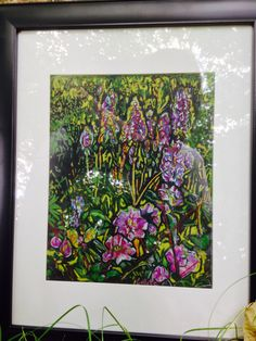 Color pencils on black drawing paper Lupines and wild roses