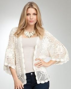 bebe Kimono Crochet Cover Up