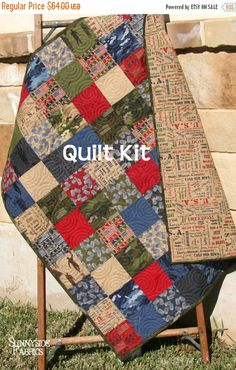 ❘❘❙❙❚❚ ON SALE ❚❚❙❙❘❘     Quilt Kit, Military USA Patriotic, Army Navy Coast Guard Marines Air Force, Baby Size Crib Blanket Boy DIY Because of
