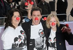 Ruth Jones, Rob Brydon, and Joanna Page on Red Nose Day. Joanna Page, Ruth Jones, Rob Brydon, Gavin And Stacey, Saint David's Day, Red Nose Day, Cymru, Comedy Tv, Candid