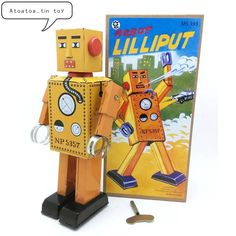 Nostalgic Clockwork Toy Mini Lilliput Robot Photography Baby Gift Classic Wind Up Robots Early Educational Toys For Kids Gift Toy Craft, Craft Gifts, Classic Ro, Educational Toys For Kids, Tin Toys, Toys Photography, Gifts For Kids, Baby Gifts, Retro Vintage