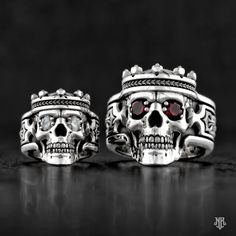 "NightRider Jewelry ""Guardian"" Skull Rings with Crowns in Sterling Silver 
