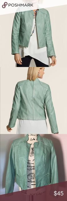 """Chico's Mint Faux-Leather Jacket Just perfect: the faux -leather jacket in a soft new hue. Welted hand pockets, subtle shoulder pads, length: 21"""", 100% synthetic materials. Machine wash. Chico's Jackets & Coats"""