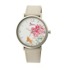 Boum Mademoiselle Leather-Band Watch ($77) ❤ liked on Polyvore featuring jewelry, watches, white, buckle watches, white leather band watches, circle jewelry, dial watches and white crown