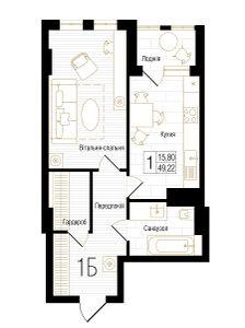 ЖК New York Concept House: планировка 1-комнатной квартиры 49.22 м2, тип 1Б