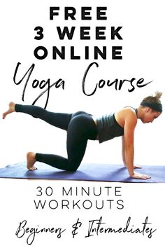 Learn yoga for free! Yep free yoga! This is for those at a beginner yoga level or intermediate yoga level. Seriously these yoga videos are perfect for anyone who is too busy for an hour long class at the gym!