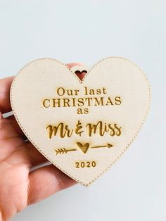 """""""Our Last Christmas as"""" Christmas ornament to add to your Christmas Tree, personalized with the year engraved.It's engraved and cut in a laser-cut machine, and the processing time is 48/72h to ship. #christmasornaments #chrismtastree #christmasdecor #ourlastchristmas"""