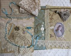 Fabric Journal Kit ...  Vintage Multi Mixed Media Kit Aqua Drab Gold Wheat by GypsyFeather,