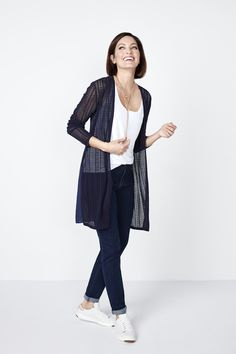 This delicate pointelle cardigan layers perfectly with your office and weekend wear. A fun chiffon back gives movement to your look and adds elegance with every st Weekend Wear, Long Cardigan, Chiffon, Normcore, Navy, Elegant, How To Wear, Outfits, Fashion