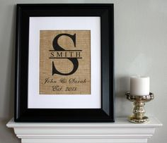 Monogram with Family Name, Name of Couple, and Date Est on Burlap - Personalized