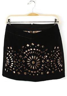 Love this Skirt! Black Flowers Hollow-out Mid Waist Corduroy Skirt #awesome #black #miniskirt