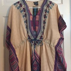"""NWT Boho Chic Caftan. Size XL/1X New with tag oh so BoHo chic Bella Moda 100% polyester caftan. Free size but probably fits for size 14 to 18 best.  52"""" long. Bella Moda Dresses Maxi"""