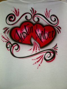 Airbrush Couples Red & Black Heart Shirt Personalized w/ Names S M L XL XXL. $12.99, via Etsy.