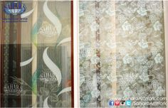 etched and colored designed glass panels