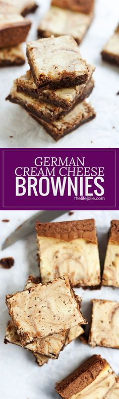 These homemade German Cream Cheese Brownies are a delicious addition to any holiday cookie platter. This recipe is made from scratch but SO easy! Rich chocolate brownies swirled with sweet cream cheese helps make this a decadent treat your family will lov