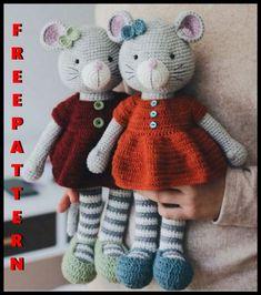 Teddy Bear Patterns Free, Crochet Bear Patterns, Amigurumi Patterns, Crochet Mouse, Crochet Teddy, Knitted Dolls, Crochet Dolls, Knitted Animals, Crochet Basics