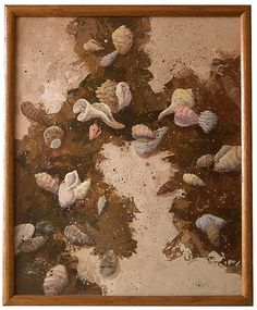 Seashells Home Decor - Tidepool - Beach Sand and Seashells - Acrylic Painting