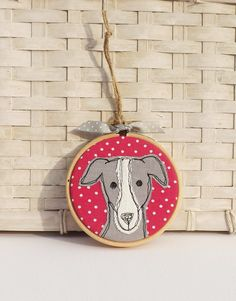Greyhound, whippet, dog, hoop, hoop art, applique, embroidery, free motion, gift, burthday by TheDogandtheMoon on Etsy