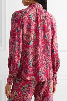Etro | Ruffled printed silk crepe de chine blouse | NET-A-PORTER.COM