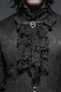 Viktorianischer Jabot Rüschenkragen mit Brosche
