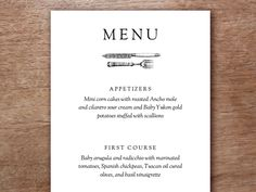 Vintage knife and fork printable menu template. Two to a page. Download enter your text and cut down the middle. Works if you only have a black and white printer.