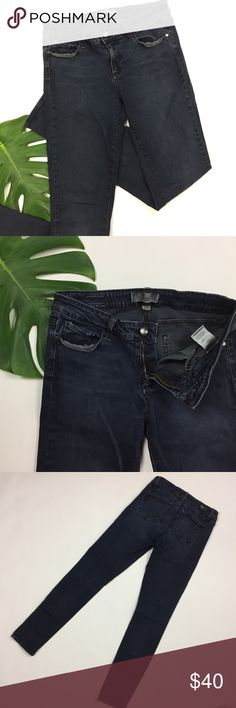 Paige Jeans 💙 sz 27 dark grey stretchy skinny Cool moto grungy faded look dark wash stretchy skinny jeans by Paige denim. women's ladies size 27 waist, approx 29 inseam. 98% cotton, 2% spandex . Features classic 5 pocket styling and comfortable worn in style. Very good used quality! Paige Jeans Jeans Skinny