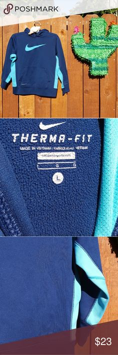 Boy's Nike Therma-Fit 2-Tone Blue Hoodie w Pocket This is a boy's Nike Therma-Fit 2-tone blue hoodie with front pocket. The sweatshirt is in excellent used condition, size large. Nike Shirts & Tops Sweatshirts & Hoodies