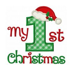 Instant Download My 1st Christmas Applique Machine Embroidery Design NO:1382