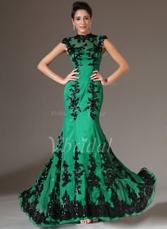 Evening Dresses - $206.16 - Trumpet/Mermaid High Neck Floor-Length Organza Evening Dress With Lace Appliques Lace (01705005961)
