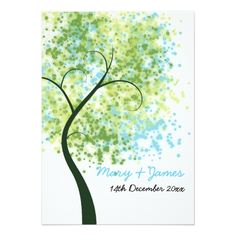 """Spring Wedding Save the Date Cards Spring Wedding Swirly Tree """"Save The Date"""" Card"""