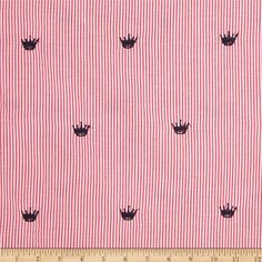 This classic woven seersucker fabric is very lightweight and summery. This versatile fabric is perfect for stylish summer suits, dresses, shorts and children's apparel. It can also be used for very lightweight curtains, home decor accents and even bedding accessories. Features navy crowns.