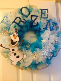If you're looking to decorate with her favorite characters for Christmas this year. This Disney Frozen inspired wreath by GlitterlyObsessed on Etsy is adorable, Frozen Christmas Tree, Disney Christmas, Christmas Themes, Holiday Crafts, Christmas Wreaths, Christmas Crafts, Merry Christmas, Frozen Room, Frozen Theme