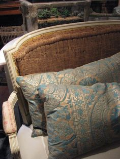 Classic Fortuny fabric - this Italian house of magic has been creating gorgeous textiles for a long, long time. Its high cost is worth every penny, but lucky for us beginners, there are a few good imitations out there.  heirloom philosophy-Fortuny pillows