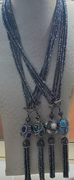 Hematite and grey pave Crystal beaded tassel necklace with cats eye Pearl or turquoise accent