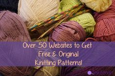 Listed in alphabetical order, here is a list of over 50 sites that offer free knitting patterns. All links are to sites that offer original knitting patterns, not… Knitting Websites, Knitting Help, Easy Knitting, Knitting Stitches, Knitting Patterns Free, Knitting Yarn, Knit Patterns, Stitch Patterns, Beginner Knitting