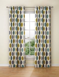 Contemporary Leaf Eyelet Curtains | M&S