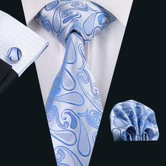 Men`s Tie Silk Blue Paisley Jacquard Woven Neckwear Necktie Gravata For Men Formal Wedding Party Business Cravat Tie, Paisley Tie, Wedding Ties, Formal Wedding, Causal Wedding, Cufflink Set, Men Formal, Latest Mens Fashion, Tie Set