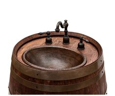 Upcycled Wine Barrel Vanities with Hand-Hammered Copper Sinks