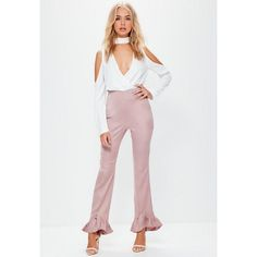 Missguided Pink Satin Back Crepe Pointed Frill Hem Trousers (295 DKK) ❤ liked on Polyvore featuring pants, rose, satin pants, pink satin pants, regular fit pants, crepe trousers and satin slip