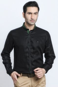 cb33ce9ca BLACK GREEN LINEN SHIRT - Shirts Jaihind Retail