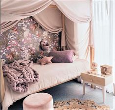 Rose Taupe Merino throw looks amazing in this bedroom Girls Bedroom, Bedroom Decor, Bedrooms, Bed Drapes, Fantasy Bedroom, Estilo Boho, Little Girl Rooms, Fashion Room, Custom Drapes