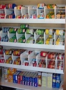 pantry organization - use soda racks to store canned goods. I have slowly started adding soda racks for my canned goods. The run about 15 each so I buy one here and there. Eventually I will have an awesomely organized pantry! Organisation Hacks, Organizing Hacks, Life Organization, Food Pantry Organizing, Household Organization, Organising, Bedroom Organization, Pantry Storage, Kitchen Storage