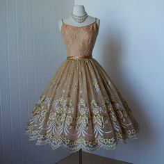 vintage 1950's dress ...gorgeous HAND PAINTED floral golden apricot chiffon and tulle full skirt pin-up dress with four layers
