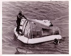 """***TODAY IN HISTORY***  August 29, in 1965 the Gemini V spacecraft, piloted by Charles """"Pete"""" Conrad, Jr. and L. Gordon Cooper, Jr. splashed down after a successful mission into the Atlantic ocean.Unlike the modern space shuttles of today, the cabin section of the Gemini ship was about the size of the front seat of the Volkswagen Beetle. The two men sat and slept side by side for the entire 8day duration. Conrad was only half joking when he dubbed the mission """"Eight days in a garbage can."""""""