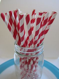 25 Vintage Style Red and White Striped Paper Straws. $4.00, via Etsy.