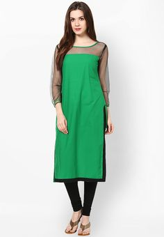 Green Solid Cotton Kurta - Sringam Kurtas & kurtis for women | buy women kurtas and kurtis online in indium