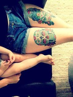 Or on your thighs. | 41 Amazing Sugar Skull Tattoos To Celebrate Día De Los Muertos